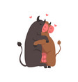 couple cute cows in love embracing each other vector image