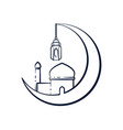 crescent moon mosque outline design vector image