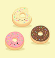 cute donuts doughnut cartoon vector image vector image
