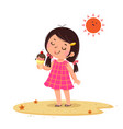 cute little girl feeling happy with her ice cream vector image