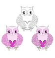 Cute pink owl with heart vector image