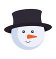 cute snowman head christmas character vector image vector image