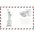 envelope with hand drawn statue liberty vector image vector image