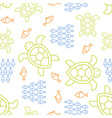 fish turtle seamless summer theme outline pattern vector image vector image
