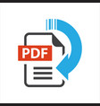 flat sign pdf download icon button isolated on vector image
