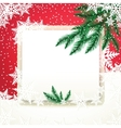 Frame on the snowdrift and fir tree branches vector image vector image