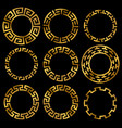 golden ancient greek round frame ornament set vector image