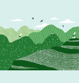 green hills with tiny white houses landscape vector image vector image