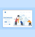 group friends or family building a snowman vector image