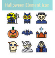 halloween color line icon vector image
