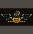 halloween pumpkin in witch hat and with wings vector image vector image