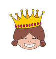 happy little princess head in crown isolated vector image
