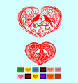 Heart love ornate with couple bird art vector image vector image