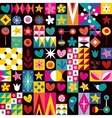 hearts stars and flowers pattern 2 vector image vector image
