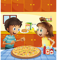 Kids at the kitchen with a whole pizza at the vector image vector image