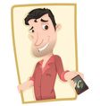 man showing smartphone vector image