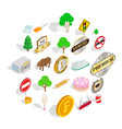 meadow icons set isometric style vector image vector image