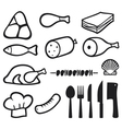 meat icons set with dining services vector image vector image