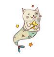 mermaid cat fantasy creature vector image vector image