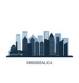 mississauga skyline monochrome silhouette vector image vector image