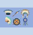 native american indian symbols set ethnic design vector image vector image