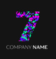 number seven with pink purple green particles vector image