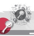Paper and hand drawn magnifying glass emblem with vector image vector image