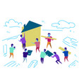 people group construction house workers team vector image