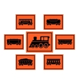 red rail road icons set vector image vector image