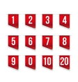 Red ribbons with number set vector image vector image
