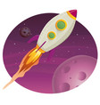 rocket ship flying in space vector image vector image