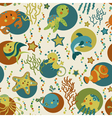Sea creatures seamless pattern vector image