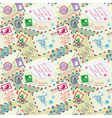 Seamless pattern with xmas stamps envelops labels vector image vector image