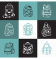 Set of different hiking backpack vector image vector image
