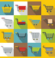 shopping cart icons set flat style vector image vector image