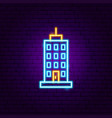 skyscraper neon sign vector image vector image