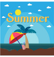 summer beach umbrella coconut tree sea background vector image vector image
