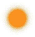 Sun icon halftone orange sun circle