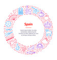 symbol of spain thin line banner card circle vector image vector image