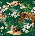 tigers flowers and palm leaves background vector image vector image