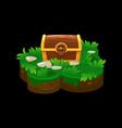 treasure chest on island isometric platform grass vector image vector image