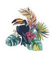 tropical floral summer beach party card with palm vector image