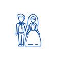 wedding couplebride and groom line icon concept vector image