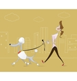 woman taking walk with the dog vector image vector image