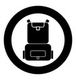backpack icon black color in circle or round vector image vector image