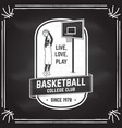 basketball club badge on the chalkboard vector image