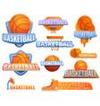 basketball sport logo set cartoon style vector image vector image