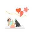 birthday greeting banner with girl and cat vector image