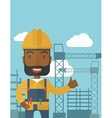 Black man standing infront of construction crane vector image