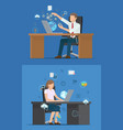 busy business people and set of technology logos vector image